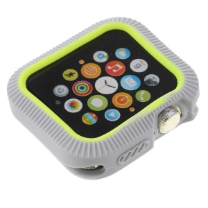 Contrast Color Silicone Anti-aging Watch Case for Apple Watch Series 4 40mm - Grey / Yellow