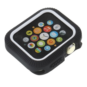 Two Tone Silicone Anti-aging Watch Cover for Apple Watch Series 4 44mm / Series 3/2/1 42mm - Black / White
