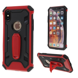 Shock Resistant Kickstand PC TPU Combo Phone Case for iPhone XS Max 6.5 inch - Red