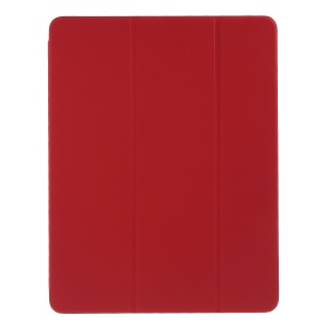 For Pad Pro 12.9-inch (2018) Tri-fold Stand Smart Folio Leather Magnetic Connection Case - Red