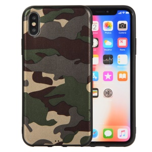 Camouflage Pattern TPU Case for iPhone XS / X 5.8 inch - Green