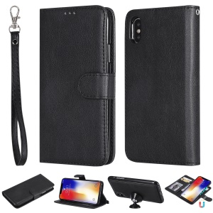 Magnetic Detachable 2-in-1 PU Leather Case for iPhone XS / X 5.8 inch - Black