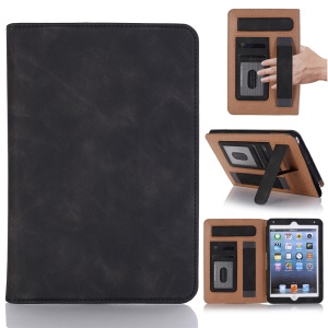 Retro Style PU Leather Protection Smart Case with Card Slots and Stand for iPad mini 4 / 3 / 2 / 1 - Black