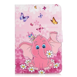Pattern Printing PU Leather Wallet Mobile Shell for iPad mini 4/3/2/1 - Elephant