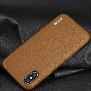 X-LEVEL PU Leather Coated PC Hard Case for iPhone XS / X 5.8 inch - Brown