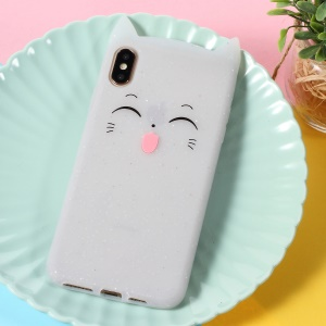3D Mustache Cat Silicone Back Case for iPhone XS Max 6.5 inch - White