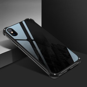 Anti-scratches Metal Frames + 9D Tempered Glass Back Case for iPhone XS / X 5.8 inch - Black