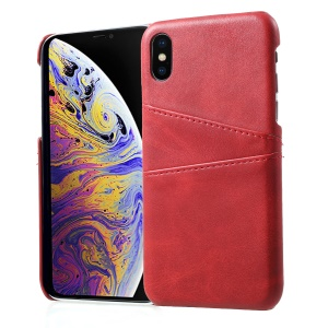 Dual Card Slots PU Leather Coated PC Phone Case for iPhone XS / X - Red