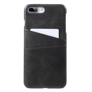 Double Card Slots PU Leather Coated PC Back Case for iPhone 8 Plus/7 Plus 5.5 inch - Black