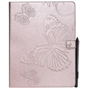 For iPad Pro 12.9-inch (2018) Imprint Butterfly Stand Leather Phone Casing - Rose Gold