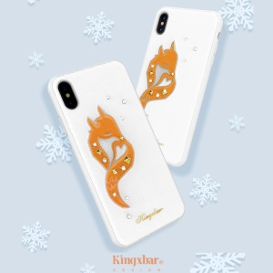 KINGXBAR 3D Animal Pattern Rhinestone PU Leather Coated PC Case for iPhone XS / X 5.8 inch - White