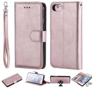 Magnetic Detachable 2-in-1 Wallet Leather Stand Phone Case for iPhone 6s/6/7/8 - Rose Gold