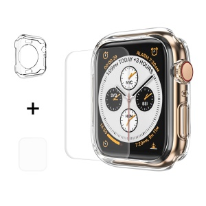 HAT PRINCE for Apple Watch Series 5 4 44mm Clear Soft TPU Case + 3D PET Curved Hot Bending Clear Screen Protector
