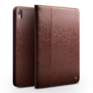 QIALINO Genuine Leather Smart Cover with Stand and Hand Strap for iPad Pro 11-inch (2018) - Brown