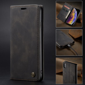 CASEME 013 Series for iPhone XS/X 5.8 inch Retro Flip Leather Phone Case [Auto-absorbed] [Wallet Stand] - Black