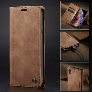 CASEME 013 Series PU Leather Card Holder Phone Case for iPhone XS Max 6.5 inch - Khaki