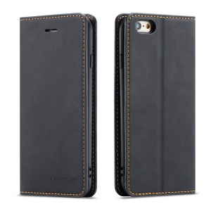 FORWENW Fantasy Series Silky Touch Leather Wallet Case for iPhone 6s/6 - Black
