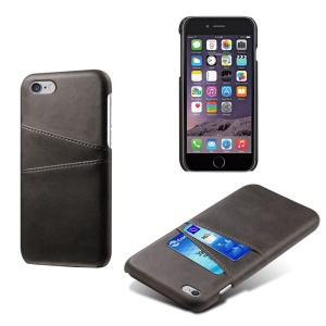 Double Card Slots PU Leather Coated PC Case for iPhone 6s/6 - Black