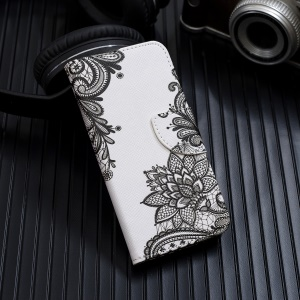 Pattern Printing Cross Texture Leather Wallet Cover for iPhone XS Max 6.5 inch - Black Flowers