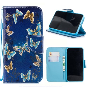 Pattern Printing Cross Texture Leather Wallet Case for iPhone XR 6.1 inch - Blue and Gold Butterfly