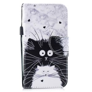 Pattern Printing Cross Texture Leather Wallet Cover for iPhone XR 6.1 inch - Black and White Cat