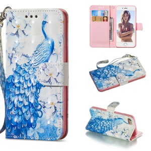 Light Spot Decor Patterned Leather Wallet Case for iPhone 8/7 4.7 inch - Peacock