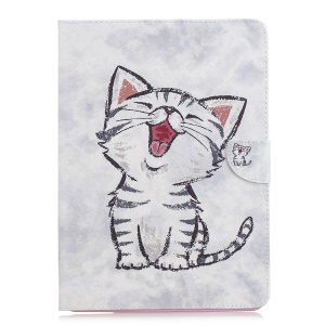 Tablet Case for iPad 4/3/2 Pattern Printing Wallet Stand Leather Case - Cat