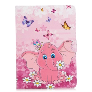 Tablet Case for iPad 4/3/2 Pattern Printing Wallet Stand Leather Case - Elephant