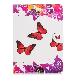 Tablet Case for iPad 4/3/2 Pattern Printing Wallet Stand Leather Case - Red Butterfly
