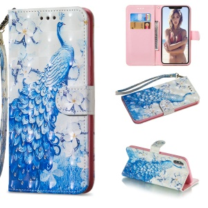 [Light Spot Decor] Patterned Leather Stand Case for iPhone XS Max 6.5 inch - Peacock