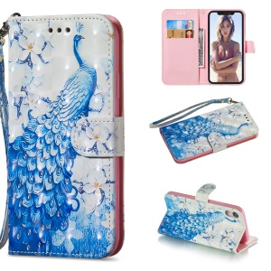 [Light Spot Decor] Patterned Leather Stand Case for iPhone XR 6.1 inch - Peacock