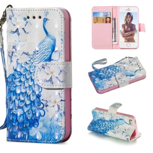 For iPhone SE/5s/5 Patterned Leather Wallet Cell Phone Case [Light Spot Decor] - Peacock