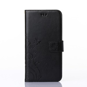 Imprint Butterfly Flower Stand Leather Case with Strap for iPhone 6s Plus / 6 Plus 5.5-inch - Black