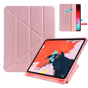 Origami Smart Leather Case [with Shock Absorption TPU / Apple Pencil Storage Groove] for iPad Pro 11-inch (2018) - Rose Gold
