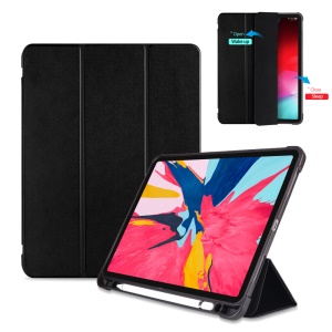 Tri-fold Stand Smart Wake/Sleep Leather Case [with Apple Pencil Storage Groove] for iPad Pro 11-inch (2018) - Black