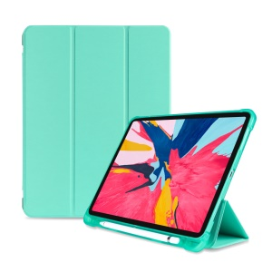 Tri-fold Stand Smart Leather Case [with Apple Pencil Storage Groove] for iPad Pro 11-inch (2018) - Cyan