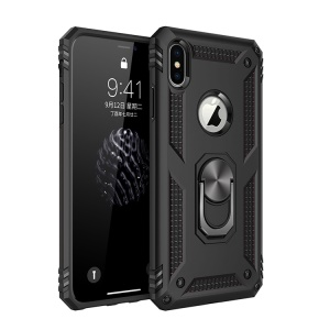 Armor PC TPU Hybrid Phone Casing with Kickstand for iPhone XS Max 6.5 inch - Black