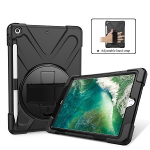 For iPad 9.7-inch (2018) / (2017) [X-Shape] PC + TPU Combo Case / 360 Degree Swivel Kickstand / Hand Strap and Shoulder Strap - Black
