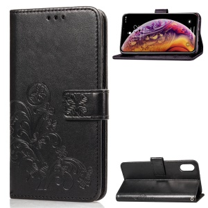 HAT PRINCE Imprinted Clover Leather Wallet Shell for iPhone XS/X - Black