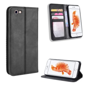 Auto-absorbed Vintage Leather Wallet Flip Casing for iPhone 6s / 6 4.7 inch - Black