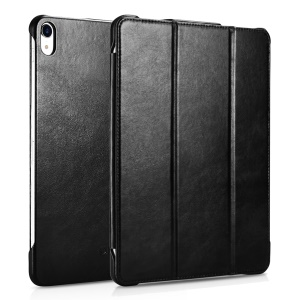 ICARER Retro Genuine Leather Stand Phone Case for iPad Pro 12.9-inch (2018) - Black