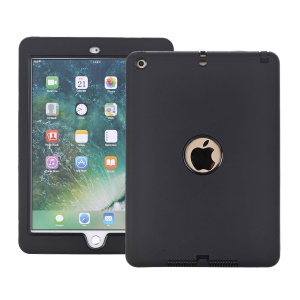 For iPad 9.7-inch (2018) / (2017) Shockproof Drop-proof Dust-proof PC Silicone Hybrid Back Case - All Black
