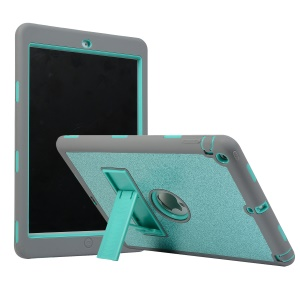 For iPad Air Glitter Powder PC Silicone Tablet Cover Shockproof Drop-proof Dust-proof Case - Cyan / Grey