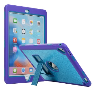 For iPad Pro 9.7 (2016) / Air 2 [Shockproof Drop-proof Dust-proof] Glitter Powder PC Silicone Hybrid Case - Baby Blue / Purple