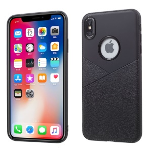 Litchi Grain TPU Mobile Phone Cover Shell for iPhone XS Max 6.5 inch - Black