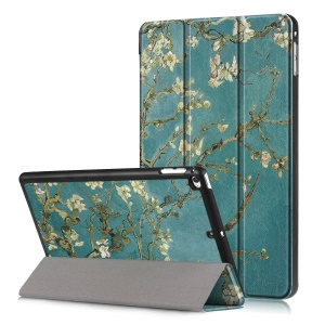 Pattern Printing Tri-fold Stand PU Leather Smart Tablet Case for iPad mini 4 / mini (2019) - Apricot Flower Tree