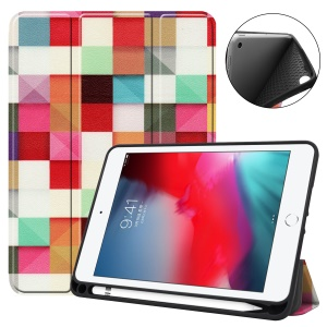 Pattern Printing Tri-fold Stand TPU Leather Smart Tablet Case with Apple Pencil Slot  for iPad mini (2019)/4 - Geometric Pattern