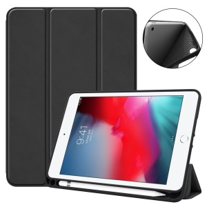 Tri-fold Stand PU Leather Smart Case with Pen Slot for iPad mini (2019) 7.9 inch / iPad mini 4 - Black