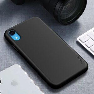 Tampa Matte IPAKY Do Telemóvel Da Palha TPU Do Trigo Para O Iphone XR 6,1 Polegadas - Preto