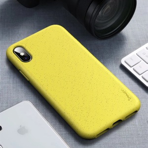 IPAKY Matte Wheat Straw TPU Protection Phone Case for iPhone XS/X 5.8 inch - Yellow